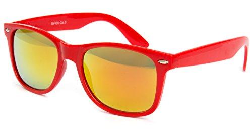 Nerdbrille Sonnenbrille Pilotenbrille Nerd Atzen Brille Brillen Rot Feuer Verspiegelt