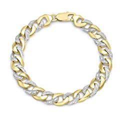 Idea Regalo - Carissima Gold Braccialetto da Donna, in Oro Giallo 9K (375), con Diamante 0.35ct, 21 cm