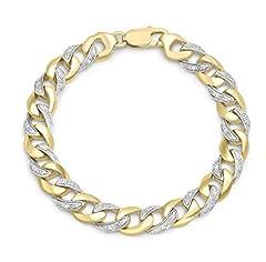 Idea Regalo - Carissima Gold Braccialetto da Donna, in Oro Giallo 9K (375), con Diamante 0.35ct, 21 cm