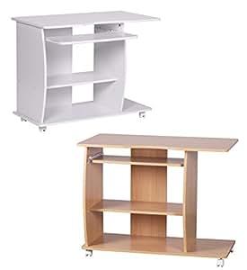 finebuy david computertisch mit rollen fahrbar klein 90cm breit tastaturauszug ausziehen holz pc. Black Bedroom Furniture Sets. Home Design Ideas