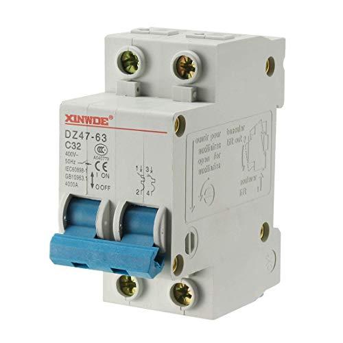 ZCHXD 2 Poles 32A 400V Low-voltage Miniature Circuit Breaker Din Rail Mount DZ47-63 C32 Din Mount Circuit Breaker