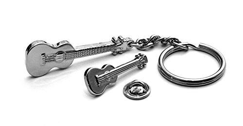 Silber Metall Ukulele Schlüsselring mit passendem abzeichen in Geschenk Box (Mann Ohne Abzeichen)