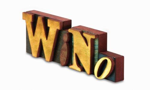 Pavilion Gift Company Wein alle die Zeit Bassdrum Verstärkungsring 5Wood Block Buchstaben, Wino, 11–1/2von 3–3/4-Zoll, 4Stück