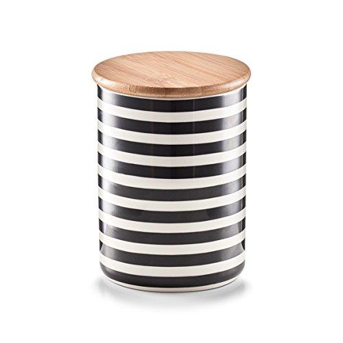 """Zeller 19823 Vorratsdose mit Bamboodeckel \""""Stripes\"""", Keramik, Schwarz / Weiß, 10 x 10 x 13 cm"""