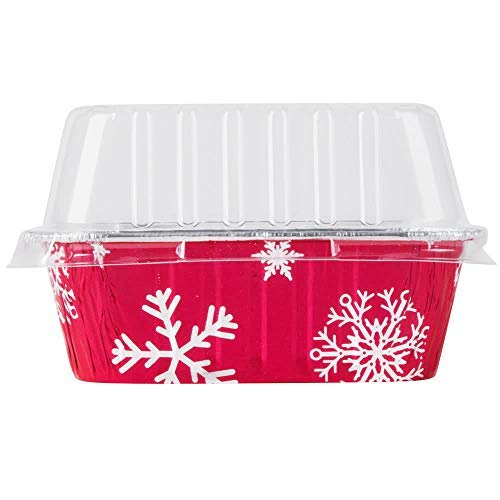 Disposable Aluminum Holiday 1 lb. Mini Loaf Pans with Clear Snap on Lid #9302X (10) by Durable Packaging -
