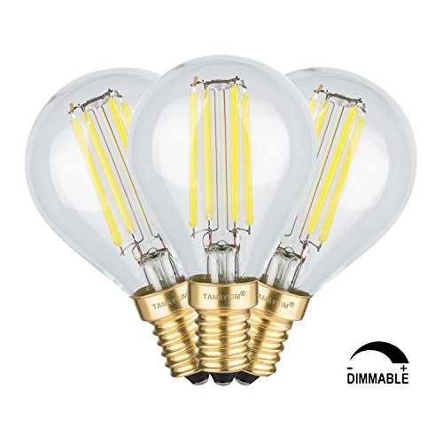 TAMAYKIM G45 4W Dimmerabile Antico Edison Stile Filamento Lampadina LED - 5000K Bianco Diurno 450 lumen - 4W equivalente a 45W - Attacco E14 - Globo Forma - 360° Angolazione Fascio Luce - 3 Pezzi