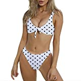 Yvelands Damen Bikini Set Retro Bademode hoch taillierte Bikini Neckholder Bikini Zweiteiliger Badeanzug Beachwear(CN-M,Weiß2)