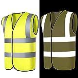 2er Pack, Warnweste mit hoher Sichtbarkeit Fluoreszierende Arbeitskleidung reflektierende Warnweste mit Reißverschluss-Taschen-Motorradjacke, XL
