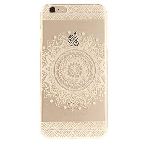 iPhone 6S Plus Handyhülle,iPhone 6 Plus Transparent Hülle,JAWSEU Schön Pink Blumen Muster Premium Weich Backcover Schutzhülle Durchsichtig Flexibel Klar Transparent Gel Silikon Tpu Hülle Superdünn Sto Mandala Blumen
