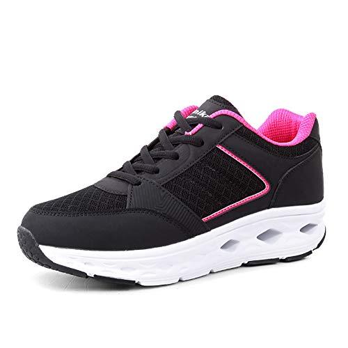FHTD Sneaker Da Donna Easy Slip On Sneaker Sportivo Scarpe Da Ginnastica Piatte Da Viaggio Ammortizzanti Scarpe Da Trekking Leggere,Black,38