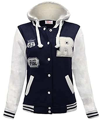 WOMENS BASEBALL HOODED TOP LADIES BOMBER JERSEY JACKET SIZE 14 NAVY