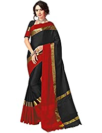 Perfectblue Women's Cotton Silk Saree With Blouse Piece (GreenpinkVisva_Green)