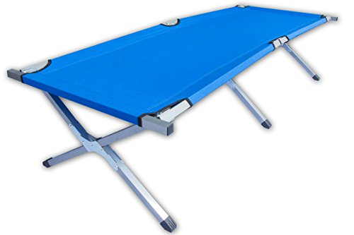 KSI Feldbett Campingbett - Royal Blau - Stahlrahmen - belastbar bis 150kg - mit Transporttasche (Royal Blau)