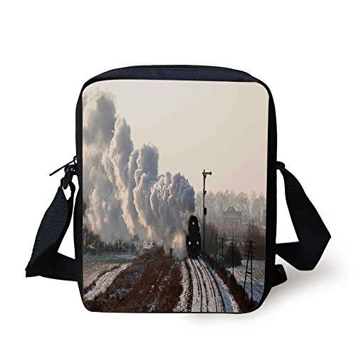 Steam Engine,Train on Rails Winter Snow Landscape Steel Industrial Theme Rural Town Print,Light Grey Print Kids Crossbody Messenger Bag Purse -