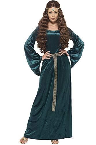 Este disfraz de reina medieval para mujer incluye un vestido y una diadema.El vestido largo es de tela tipo terciopelo de color verde, viene con contornos dorados al nivel del cuello, un cinturón de tela dorado y negro se coloca alrededor de la cint...