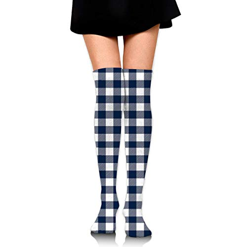 HRTSHRTE Cotton Thigh High Compression Socks, Navy Check Plaid Pattern Soccer Tube Sock -