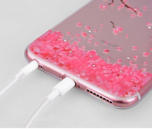 Coque iPhone 6 Plus,Coque iPhone 6S Plus,Coque Étui Case pour iPhone 6S / 6 Plus,ikasus® Coque iPhone 6S / 6 Plus Silicone Étui Housse Téléphone Couverture TPU Clair éclat Strass bling diamond cristal Rhinestone Cherry Blossom