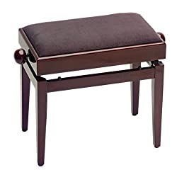 Stagg Mahagoni Hochglanz Pianobank / Klavierbank mit Notenfach mit brauner Samt-Sitzfläche