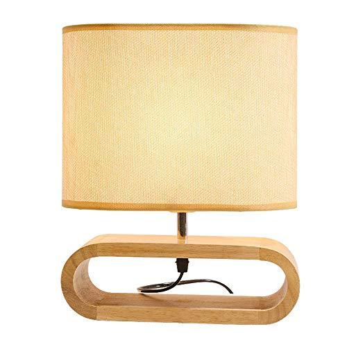 Oval Basis Lampe (Vnlig Tischlampe Holz Nachttisch Schmuck nordischen Stoff Lampe Dimmer ovale Basis und Stoff Lampenschirm Elegante Tischlampe)