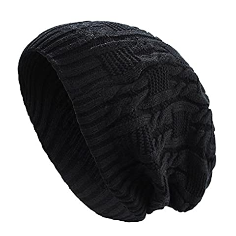 Beret Femme Noir - THENICE Bonnet Tricoté femme Chapeau Hiver Cap