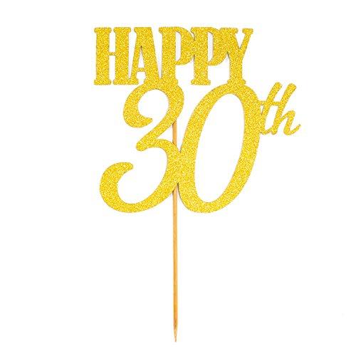Oblique Unique® Torten Kuchen Topper Aufsatz Happy 30th Geburtstag - Gold mit Glitzereffekt - Jubliäum Deko