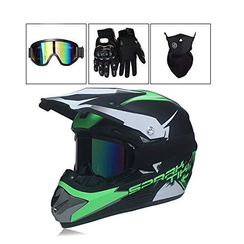 LEENY Motocross Helm Herren Motorradhelm mit Brille Handschuhe Maske, Crosshelm DH Enduro Moped Downhill Dirt Bikes Quads Motorrad Offroad-Helm für Erwachsene Männer Frauen, Grün,M