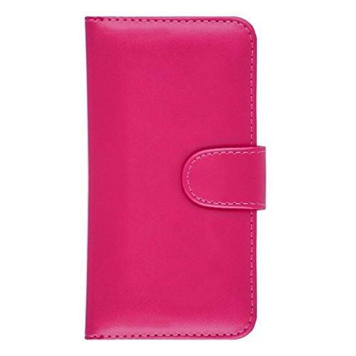 iPhone 7 / iPhone 8 Hülle Leder Klapphülle mit Kartenfach GizzmoHeaven Schutzhülle Tasche Flip Case Cover Etui Handyhülle für Apple iPhone 7 / iPhone 8 mit Displayschutzfolie und Stylus-Stift - Rot Rosa