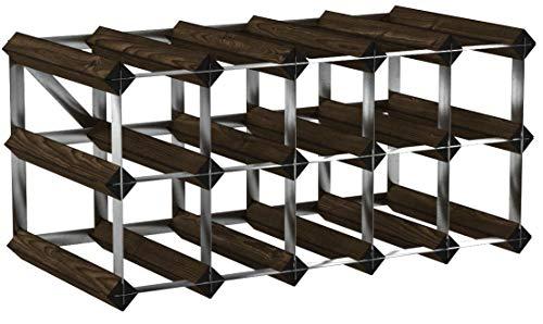 Klassische 15Flasche Eiche dunkel gebeiztem Holz und verzinktem Metall Weinregal fertig montiert