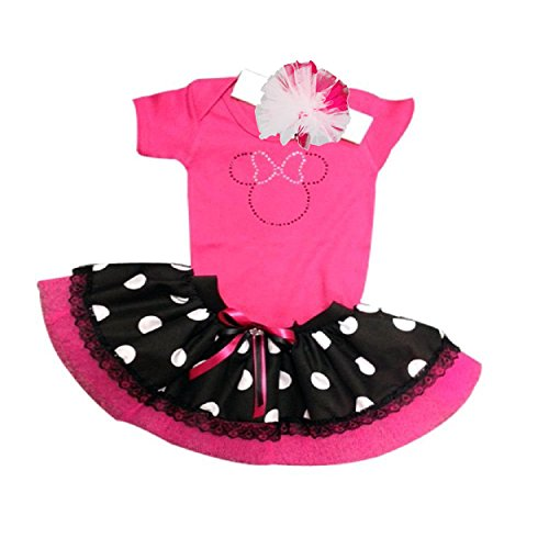 Pink Minnie Mouse Sparkle Baby Grow T-Shirt With Black & White Polka Dot Tutu Set (1-2 yrs) (Pink Dot Mouse Minnie Polka)