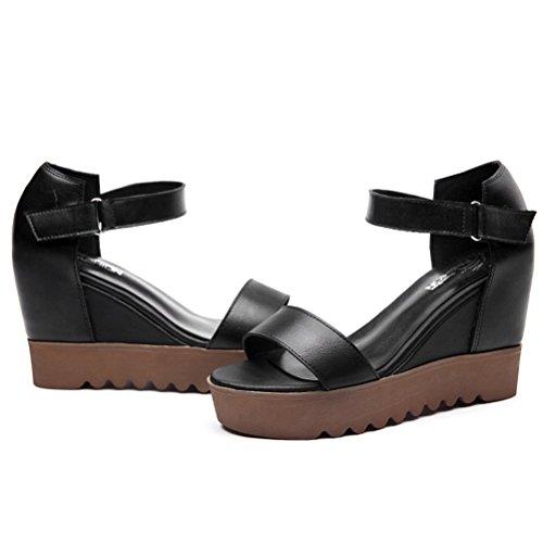 Modische Keilabsatz Fischkopf Zehen Sandalen Dicke Sohle Plateau Sommer Moderne Schnellverschluss Damen Schuhe Schwarz