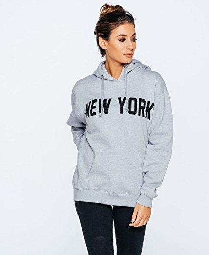 Ladies New York Slogan Graphic Print Sweat à capuche surdimensionné EUR Taille 36-42 Gris