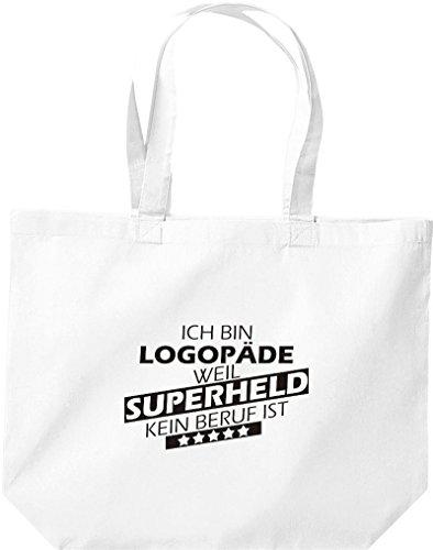 Shirtstown große Einkaufstasche, Ich bin Logopäde, weil Superheld kein Beruf ist, weiss