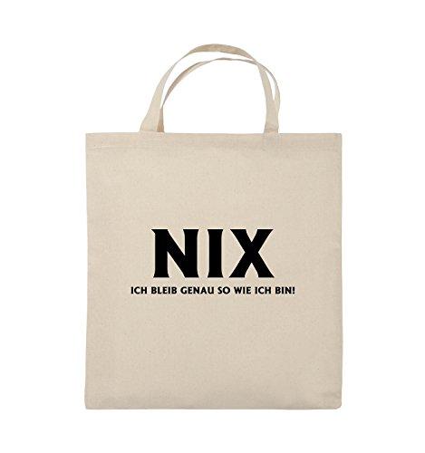 Comedy Bags - NIX ICH BLEIB GENAU SO - Jutebeutel - kurze Henkel - 38x42cm - Farbe: Schwarz / Pink Natural / Schwarz