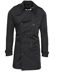 d43ff94490a4a6 Giubbotto trench uomo casual nero giacca lunga doppiopetto impermeabile
