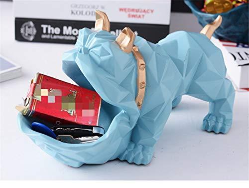 START Nordic Lucky Dog Tier Kreative Dekoration Dekoration Couchtisch Candy Platte Schuhschrank Schlüssel Lebensmittelgeschäft Aufbewahrungsbox Desktop (Color : Blue) -