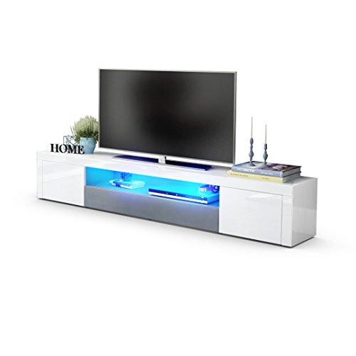 TV Board Lowboard Santiago V2, Korpus in Weiß Hochglanz / Fronten in Weiß Hochglanz und Grau Hochglanz inkl. LED Beleuchtung