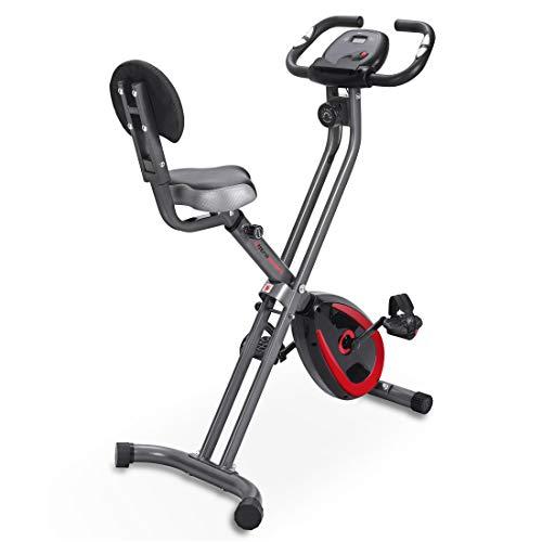 Ultrasport F-Bike 300B Fahrradtrainer mit Rückenlehne, Trainingscomputer und App, einfach faltbar, dunkelgrau/schwarz