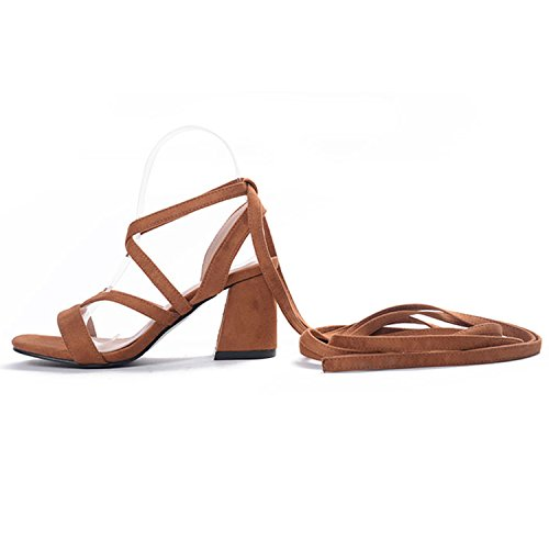 Oasap Women's Open Toe Chunky Heels Ankle Cross Lace up Sandals Black