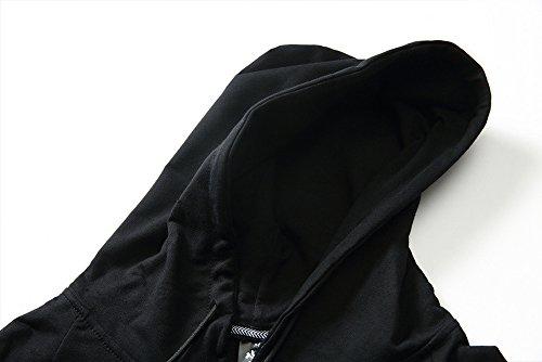 ETASSO Herren Schwarz Hooded Kurzarm T Shirt Casual Tops Hoodie Schwarz
