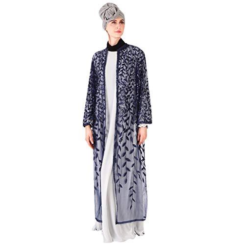 AmyGline Muslimische Kleider Damen islamische Kleider Langarm Elegant Lang Kleid Maxikleid Tüll Kleider schwarz Strickjacke Robe Muslim Arab Kleid Dubai Kaftan Ramadan Kleider Gebet Kleid (Baby Kostüm Dubai)