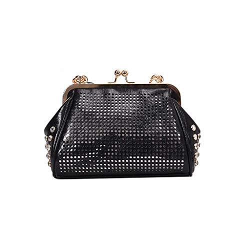 Mitlfuny handbemalte Ledertasche, Schultertasche, Geschenk, Handgefertigte Tasche,Mode Frauen Retro Bänder aushöhlen Geldbörse Messenger Bags Umhängetasche