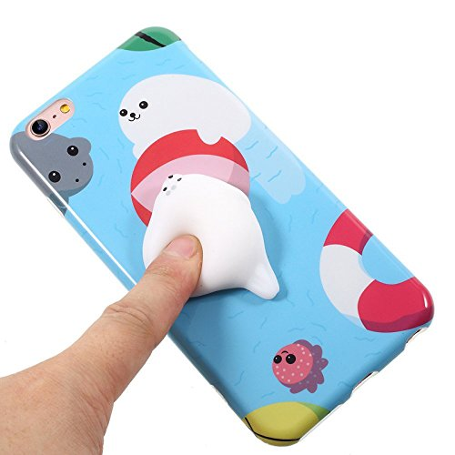 Finger Decompression phone case ,3D Soft Silicone Pinch Squishy Cat TPU Protective Back Cartoon Animal Apple phone Case for iphone 6/6S(4.7-inch) (Lazy Seal) Lazy Seal