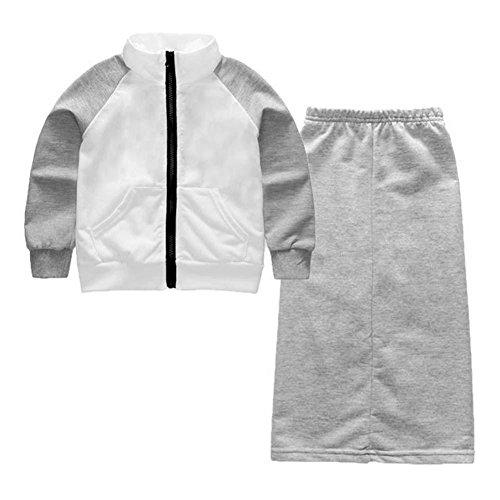 2pcs/Set Korean Girl Children Sports Zipper Jacket + Side Slit Skirt(150)