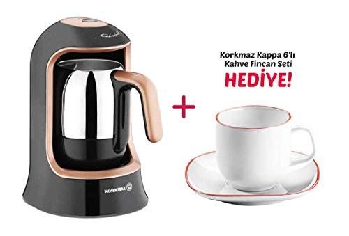Korkmaz Kahvekolik Espressomaschine Mokkamaschine 400Watt 7x Varianten + Mokkatassen Geschenk Kahvekolik A860-02 (Rosegold/Schwarz), Mokkatassen A8667 (Weiß/Rot)
