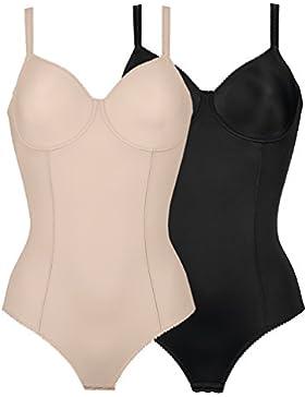 Naturana - Body con Aros para Mujer 3260 (Pack de 2) Negro Piel EU 90 / ES 105 C