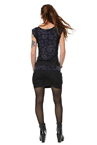 d kurz Damen Abendkleider Sommer-Kleider mit Ballonrock schick figurbetont sexy schwarz Blumennetz S Ballonkleid (Sexy Elfen Outfit)