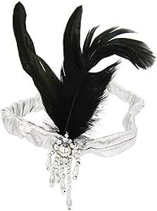 Smiffy's Satin Charleston Headband with Feather and Jewel - Silver/Black