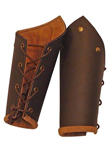 Einfach Kostüme Epic (1 Paar Lederarmschienen mit Bändern und Ziernieten LARP Rüstung Schwarz oder Braun)