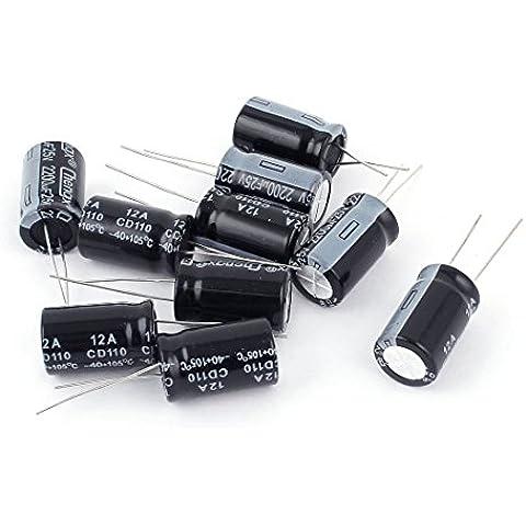 10 Pcs Dual Radial cables polarizado Radial Cable Condensador electrolítico 25V 2200UF