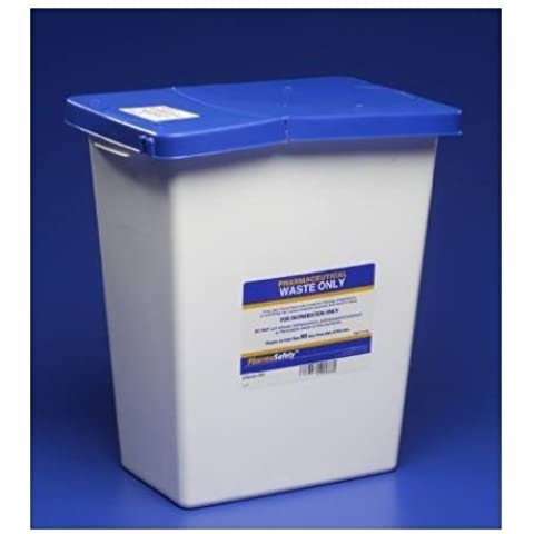 Kendall Pharmasafety Waste Sharps Disposal Container 8 Gallon W/Lid Absorbent Pad - Model 8850 by Covidien /Kendall